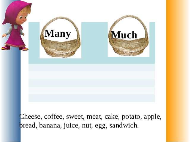 Cheese, coffee, sweet, meat, cake, potato, apple, bread, banana, juice, nut,...