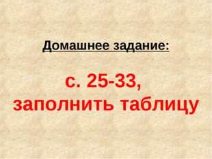 Домашнее задание: с. 25-33, заполнить таблицу