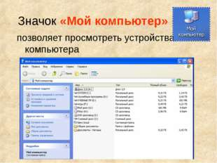 Значок «Мой компьютер» позволяет просмотреть устройства компьютера