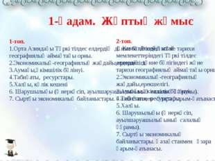 1-топ. 1.Орта Азиядағы Түркі тілдес елдердің дүние бөлігіндегі және тарихи г