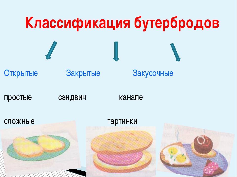 Открытые Закрытые Закусочные простыесэндвич канапе сложные   тарти...