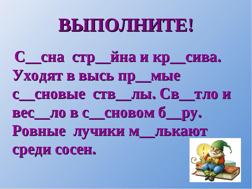 ВЫПОЛНИТЕ! С__сна стр__йна и кр__сива. Уходят в высь пр__мые с__сновые ств__л...