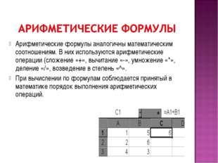Арифметические формулы аналогичны математическим соотношениям. В них использу