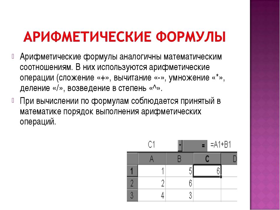 Арифметические формулы аналогичны математическим соотношениям. В них использу...