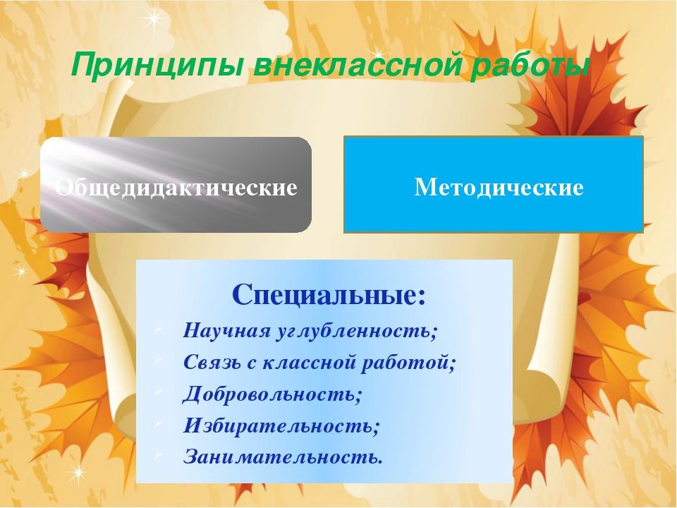Принципы внеклассной работы Общедидактические Методические Специальные: Научн...
