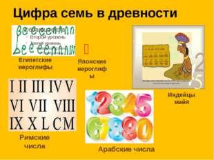 Цифра семь в древности Египетские иероглифы Индейцы майя 七 Японские иероглиф