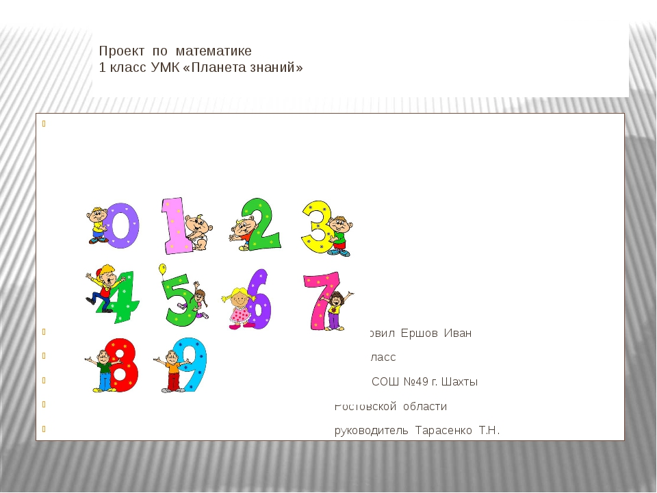 Проект по математике 1 класс УМК «Планета знаний» Подготовил Ершов Иван 1 «А...