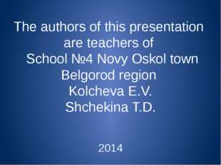 The authors of this presentation are teachers of School №4 Novy Oskol town Be