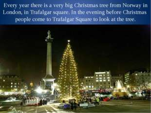 Every year there is a very big Christmas tree from Norway in London, in Trafa