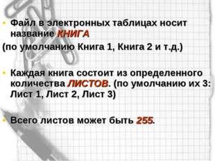 Файл в электронных таблицах носит название КНИГА (по умолчанию Книга 1, Книга