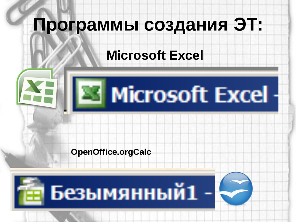 Программы создания ЭТ: Microsoft Excel OpenOffice.orgCalc