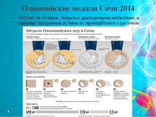 Олимпийские медали Сочи 2014 Состоят из сплавов, покрытых драгоценными металл