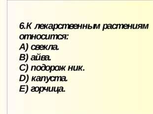 6.К лекарственным растениям относится: A) свекла. B) айва. C) подорожник. D)