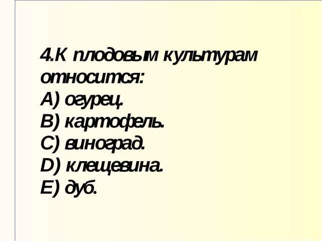 4.К плодовым культурам относится: A) огурец. B) картофель. C) виноград. D) кл...