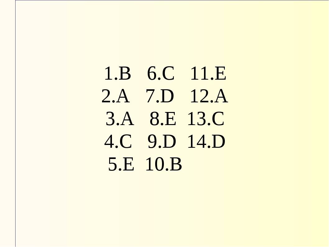 1.В 6.С 11.Е 2.А 7.D 12.А 3.А 8.Е 13.С 4.С 9.D 14.D 5.Е 10.В