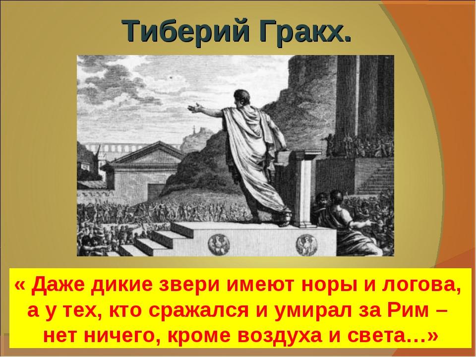 Тиберий Гракх. « Даже дикие звери имеют норы и логова, а у тех, кто сражался...