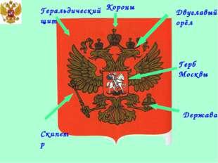 Геральдический щит Двуглавый орёл Скипетр Держава Герб Москвы Короны