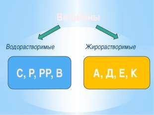 Витамины Водорастворимые Жирорастворимые C, P, PP, B A, Д, Е, К