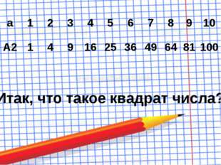 Итак, что такое квадрат числа? а 1 2 3 4 5 6 7 8 9 10 А2 1 4 9 16 25 36 49 64