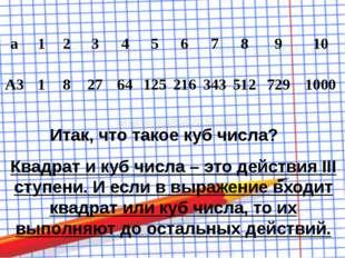 Итак, что такое куб числа? Квадрат и куб числа – это действия III ступени. И