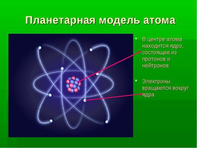 Планетарная модель атома В центре атома находится ядро, состоящее из протонов...