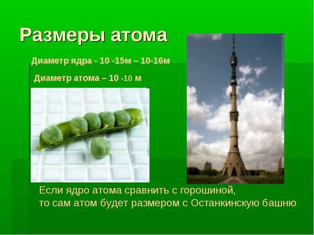 Размеры атома Диаметр ядра - 10 -15м – 10-16м Диаметр атома – 10 -10 м Если я...