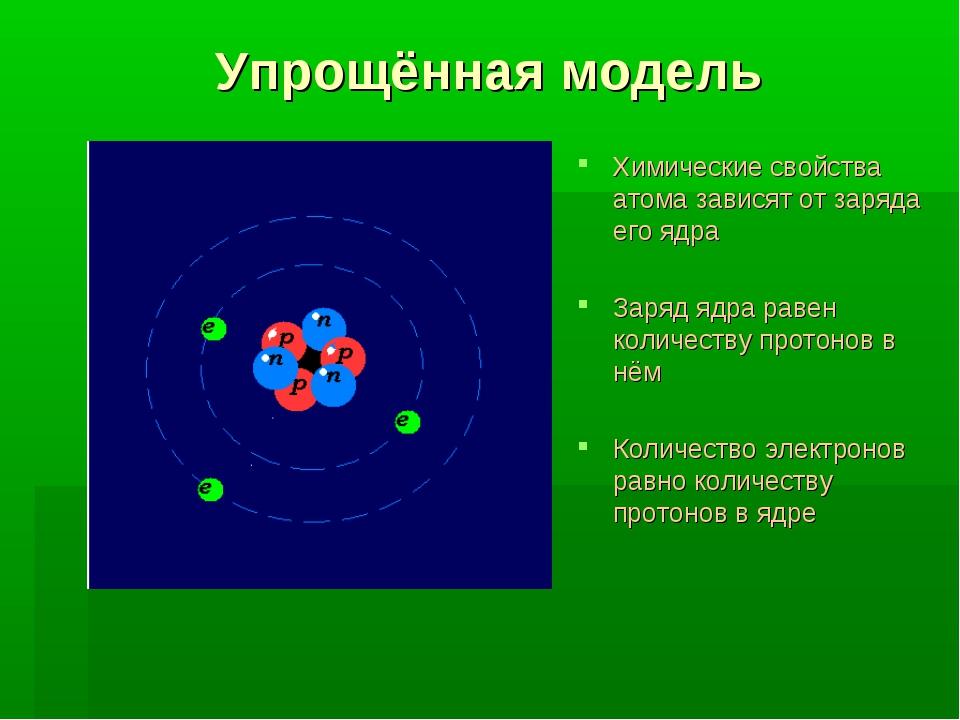 Упрощённая модель Химические свойства атома зависят от заряда его ядра Заряд...