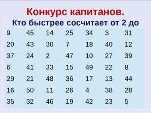 Конкурс капитанов. Кто быстрее сосчитает от 2 до 50? 9 45 14 25 34 3 31 20 43
