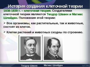 1838-1839 г. – клеточная теория. Создателями клеточной теории являются Теодор
