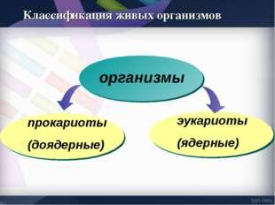организмы прокариоты (доядерные) эукариоты (ядерные) Классификация живых орга
