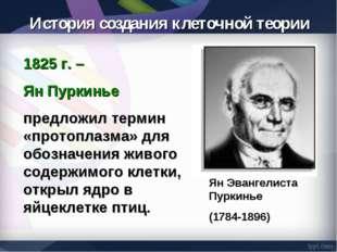 1825 г. – Ян Пуркинье предложил термин «протоплазма» для обозначения живого с