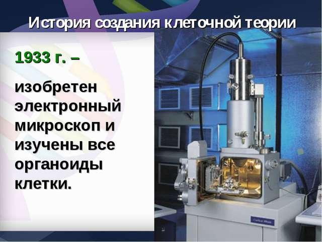 1933 г. – изобретен электронный микроскоп и изучены все органоиды клетки. Ист...