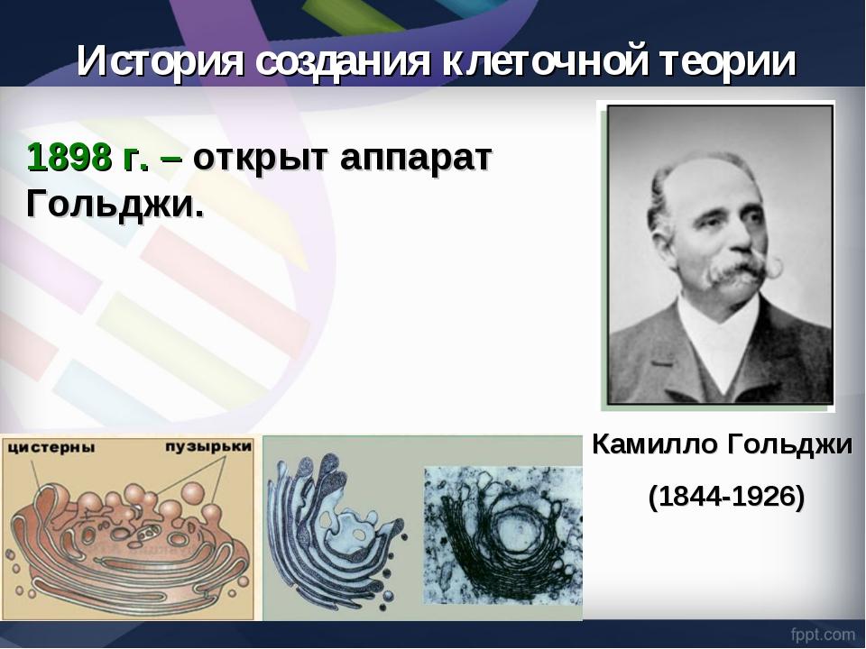 1898 г. – открыт аппарат Гольджи. Камилло Гольджи (1844-1926) История создани...