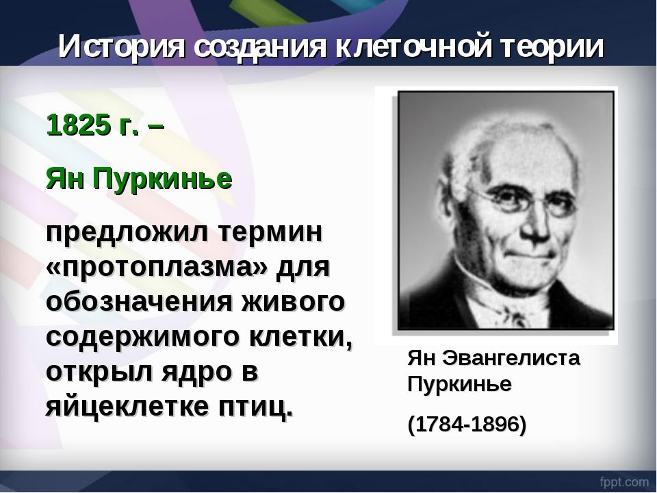1825 г. – Ян Пуркинье предложил термин «протоплазма» для обозначения живого с...