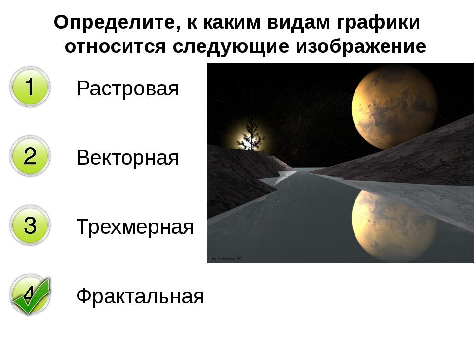 Определите, к каким видам графики относится следующие изображение Растровая В...