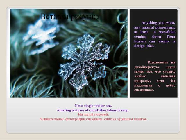 Not a single similar one. Amazing pictures of snowflakes taken closeup. Ни од...