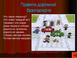 Правила дорожной безопасности Что такое переход? Это знает каждый кот! Уважаю