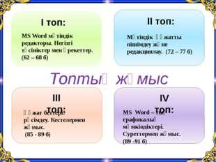 І топ: ІІ топ: ІІІ топ: ІV топ: MS Word мәтіндік редакторы. Негізгі түсінікт