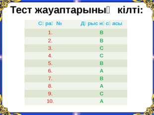 Тест жауаптарының кілті: Сұрақ № Дұрыснұсқасы 1. В 2. В 3. С 4. С 5. В 6. А 7