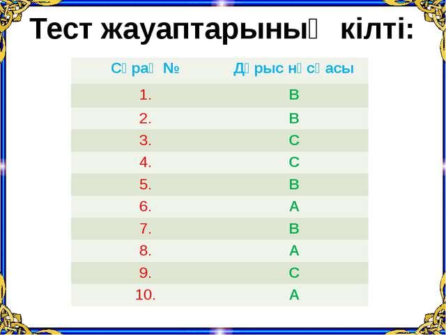 Тест жауаптарының кілті: Сұрақ № Дұрыснұсқасы 1. В 2. В 3. С 4. С 5. В 6. А 7...