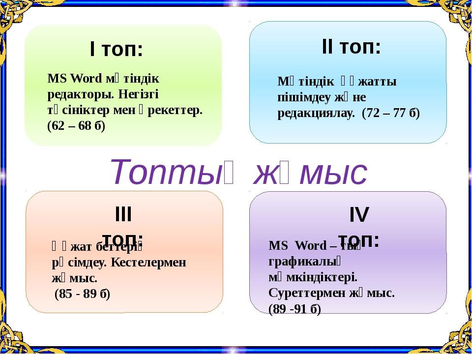 І топ: ІІ топ: ІІІ топ: ІV топ: MS Word мәтіндік редакторы. Негізгі түсінікт...