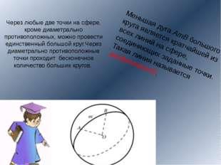 Через любые две точки на сфере, кроме диаметрально противоположных, можно про