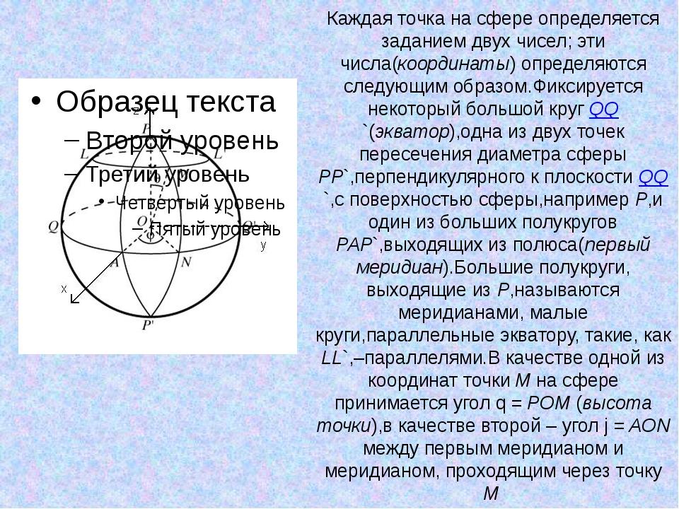 Каждая точка на сфере определяется заданием двух чисел; эти числа(координаты)...
