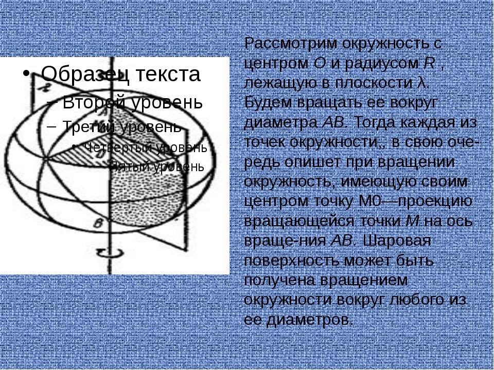 Рассмотрим окружность с центром О и радиусом R , лежащую в плоскости λ. Будем...