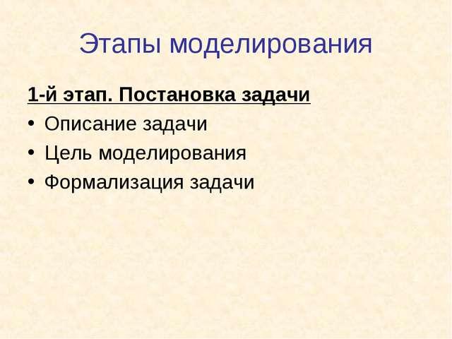 Этапы моделирования 1-й этап. Постановка задачи Описание задачи Цель моделиро...