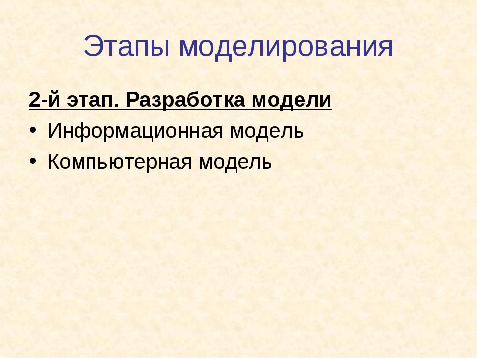 Этапы моделирования 2-й этап. Разработка модели Информационная модель Компьют...