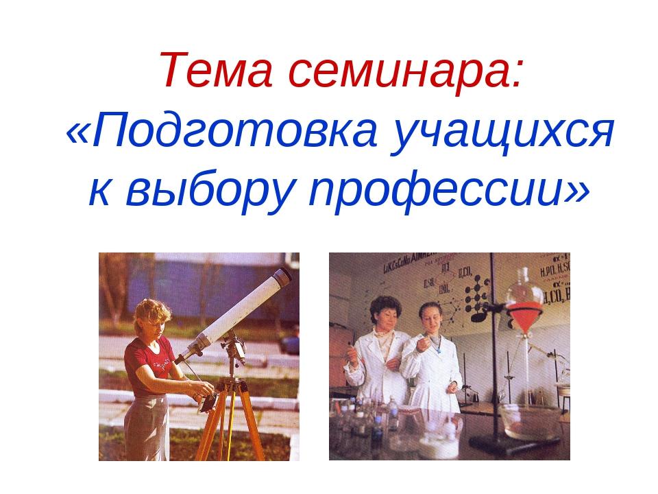 Тема семинара: «Подготовка учащихся к выбору профессии»