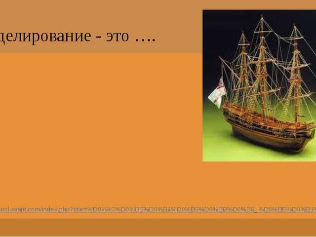 Моделирование - это …. http://school.xvatit.com/index.php?title=%D0%9C%D0%BE%...