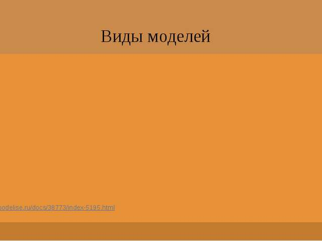 Виды моделей http://podelise.ru/docs/38773/index-5195.html