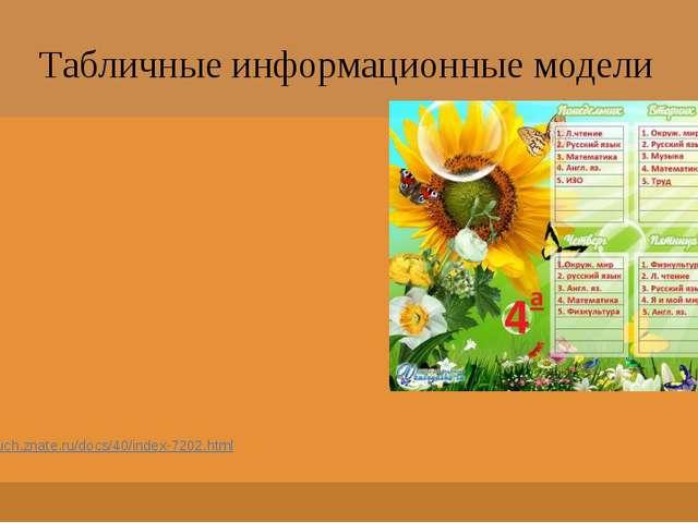 Табличные информационные модели http://uch.znate.ru/docs/40/index-7202.html